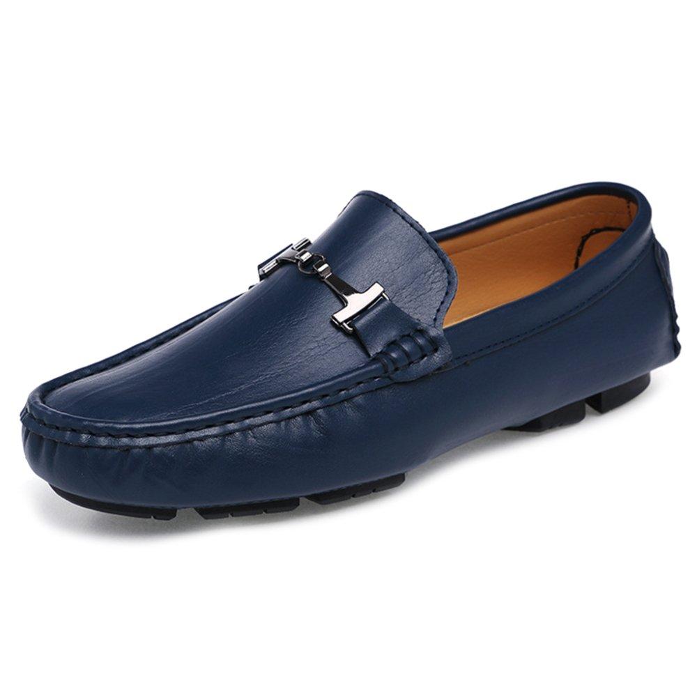 MERRYHE Zapatos De Cuero Clásicos del Barco De Los Hombres Mocasines Planos Resbalón En Mocasines Zapato De La Cubierta Calzado De Conducción,Blue-46 46|Blue