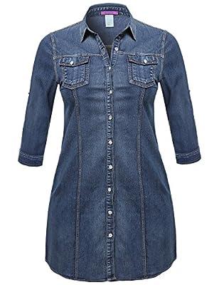 Plus4u Women's Denim Chambray Button Down Shirt Dress