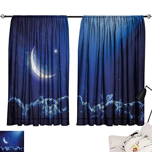 Davishouse Night Thermal Curtains Crescent Moon in Dark Blue Sky with Vibrant Stars Celestial View Midnight Image Privacy Protection (Screen Celestial Fireplace)