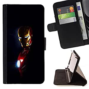 For HTC ONE A9 - Iron Superhero Man /Leather Foilo Wallet Cover Case with Magnetic Closure/ - Super Marley Shop -