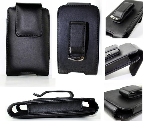 Black Leather Holster Pouch Case Cover with Belt Clip for Blackberry Bold, BB Curve 8900, BB Storm, BB 8800, BB Pearl 8100, BB Tour 9630 Niagara, LG Dare VX9700, iPod Touch, iPod Classic, iPhone 3g, Treo Pro (Blackberry Case Leather 8800)