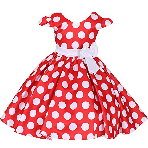 Toddler Girls Cap Sleeves Skirt Polka Dots Princess Birthday Party Minnie Costume Tutu Dress up Vintage Fancy Halloween Cosplay Wedding Pageant Ballet Dance Leotard Bowknot Swing Tulle Ball Gown