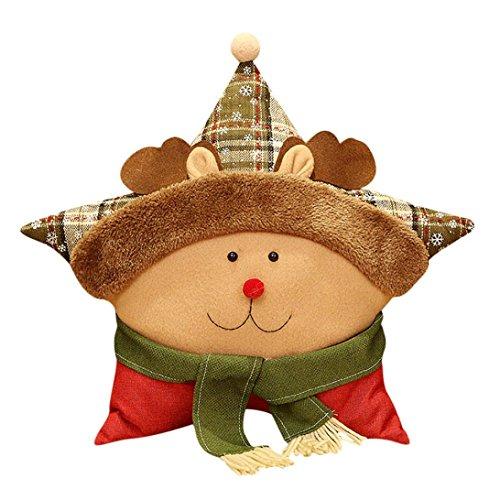 Santa Claus,Snowman,Deer Pillow,Maonet Merry Christmas Sofa Seat Back Cushion Home Decor, Pillow Cases Cover+Pillow Core (ELK) ()