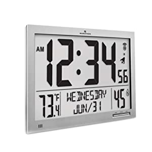 Marathon CL030062-FD-GG Slim Atomic Wall Clock. Jumbo Full Calendar Display. Indoor Temperature & Humidity (New Full Display) Color-Graphite Grey.