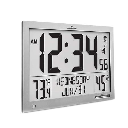 Marathon CL030062-FD-GG Slim Atomic Wall Clock. Jumbo Full Calendar Display. Indoor Temperature Humidity New Full Display Color-Graphite Grey.
