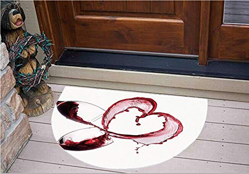 Valentine Tile (3D Semicircle Floor Stickers Personalized Floor Wall Sticker Decals,Red Wine in Glasses Romantic Valentines Day,Kitchen Bathroom Tile Sticker Living Room Bedroom Kids Room Decor Art Mural D27.5