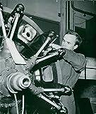 Vintage photo of A steering engine is installed in Sk 14 at SAAB in Trollh228;ttan.