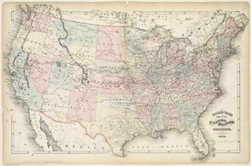 Historic Map | 1871 Walling and Gray's map of the United States and territories | Antique Vintage Reproduction - 1871 Antique Map