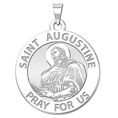Saint Augustine of Hippo Religious Medal - 3/4 Inch Size of a Nickel - Sterling - And Women Augustine St