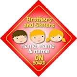 3 (Three) Brothers and Sisters On Board Personalised Car Sign New Baby / Child Gift / Present