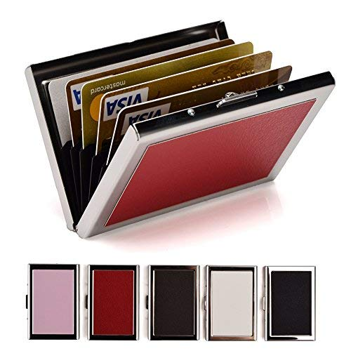 RFID Credit Card Holder Protector Stainless Steel and PU Leather Credit Card Case for Women Metal Card Case