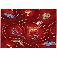 Childrens Disney Cars World Of Cars - Red Bedroom Rug 3ft 1 x 4ft 4