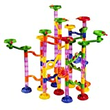 Marble Runs Toy Set,AMOSTING Marble Run Railway Maze Toys Building Set,75 Pieces 30 Glass Marble Race Game