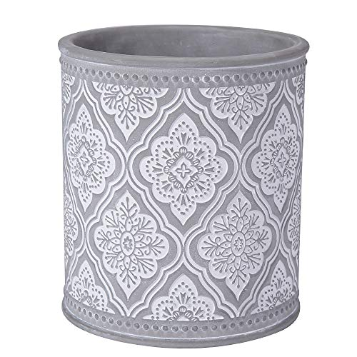 Kitchen Cooking Utensil Holders | Fine Embossed Cement Utensils Crock | Ceramic Utensil Container(Rhombic Pattern)
