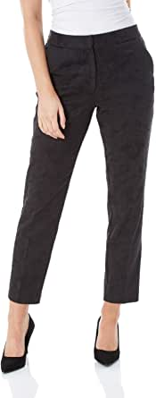 Roman Originals Pantalones Jacquard para mujer, 57% algodón, para trabajo, oficina, tobillo o oficina, con cierre de gancho cónico