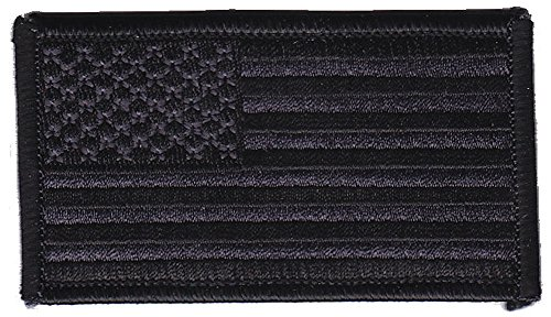 American Flag Patch FORWARD Facing - BLACK on BLACK (HOOK