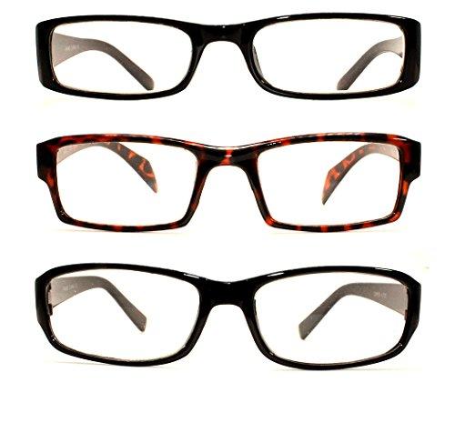 3 Pairs Men Women Unisex Plastic Black & Brown Frame Value Pack Reading Glasses Readers Optic Frame ( Strength: +2.25)