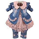 YAO Baby Girls 3 Pieces Denim Clothing Set Lace Dress Floral Denim Jacket and Jeans