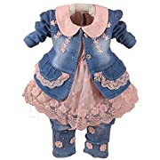 YAO Spring Autumn Little Girls Baby Girls 3 Pieces Denim Clothing Set Long Sleeve Lace Dress Floral Denim Jacket Coat and Jeans (6-12Months, Pink)
