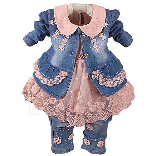 (Spring Autumn Little Girls Baby Girls 3 Pieces Denim Clothing Set Long Sleeve Lace Dress Floral Denim Jacket Coat and Jeans (2-3Years, Pink) )