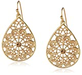1928 Jewelry Gold-Tone Light Brown Topaz Color Filigree Teardrop Earrings