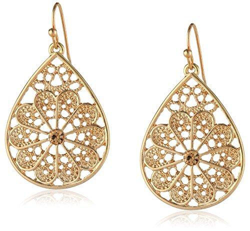 1928 Jewelry Gold-Tone Light Brown Topaz Color Filigree Teardrop Earrings -