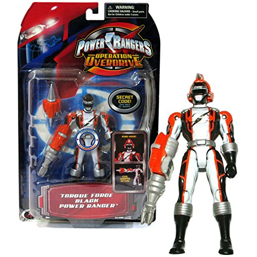 (Bandai Year 2006 Power Rangers Operation Overdrive Series 5-1/2 Inch Tall Action Figure - TORQUE FORCE BLACK POWER RANGER with Robo Mode Helmet and Weapon)