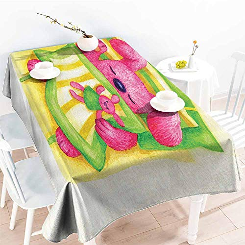 Homrkey Wrinkle Resistant Tablecloth Cartoon Decor Collection Cute Baby Rabbit Sleeps in The Bed with Teddy Bear Bunny Cartoon Character Print Green Yellow Pink and Durable W60 xL102