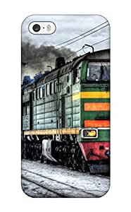 Iphone 5/5s Locomotive On Snowy Railroad Print High Quality Tpu Gel Frame Case Cover by mcsharks