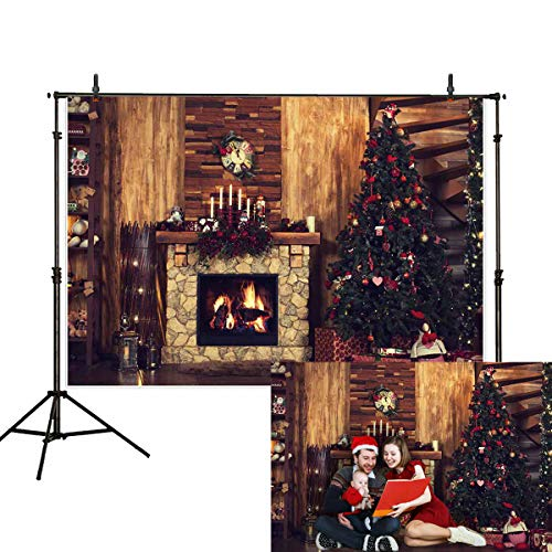 Allenjoy 7x5ft Christmas Backdrop Forest House Winter Indoor Stove Christmas Tree Gift Fireplace Wreath Wooden Wall Family Gathering Photography Background Decoration Photo Studio Props
