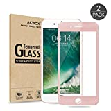 (Pack of 2)iPhone 7 Plus Screen Protector, Akwox 3D Curved ABS Soft Edge + Middle Tempered Glass Screen Protector, Full Screen Coverage Edge to Edge Protector Film for iPhone 7 Plus (Rose Gold)