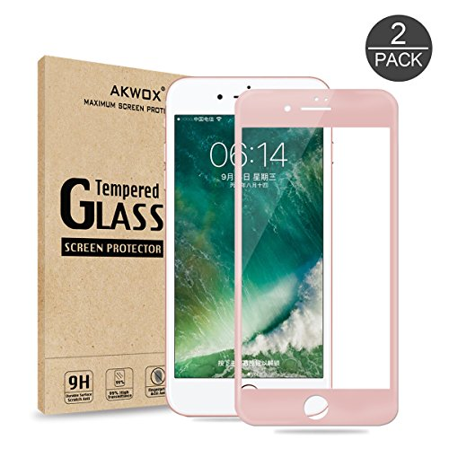 (Pack of 2) Screen Protector for iPhone 7 8, Akwox Full Cover iPhone 7 8 Tempered Glass Screen Protector with ABS Curved Edge Frame, Anti-Fingerprint HD Screen Protector for iPhone 7 8(Rose Gold)