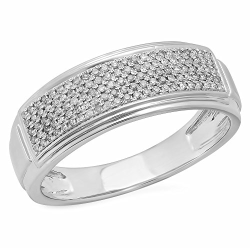 0.30 Carat (ctw) 14K White Gold White Diamond Men's Micro Pave Hip Hop Wedding Band 1/3 CT (Size 11) by DazzlingRock Collection