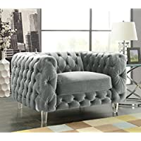 Iconic Home FCC2651-AN Modern Contemporary Tufted Velvet Down Mix Cushons Acrylic Leg Club Chair, Grey