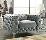 Cheap Iconic Home FCC2651-AN Modern Contemporary Tufted Velvet Down-Mix Cushons Acrylic Leg Club Chair, Grey