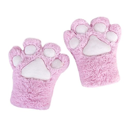 A&S Creavention Women Cat Bear Claw Paw Mitten Plush Glove Costume (Pink)