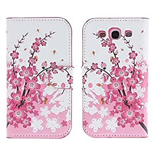PEACH Flower Style LeatherR Flip Pouches Case Cover for Samsung Galaxy S3 I9300