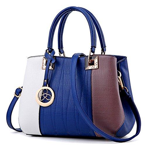 Bolso de Hombro simple señoras bolso bolso, gris 3 color azul oscuro