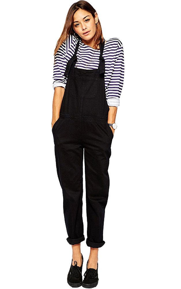 FV RELAY Women's Casual Black Bib Overalls Playsuit with Adjustable Straps (XXL)