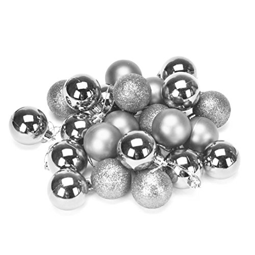 Convinced8 Christmas Tree Decoration Ball Christmas 4 cm 24PC Plastic (Silver)