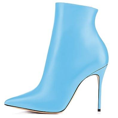 f6964c8dc5ca3 elashe Damen Stiefeletten | 10cm Trendige Damen Stiefeletten | Knöchelhohe  Stiefel mit Absatz | Leder Optik Schuhe