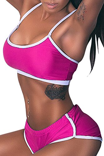 Selowin Women's Sexy Low Cut Sports Vest Tank Top Bra Shorts Set Suit Rose Red (Womens Low Cut Shorts)
