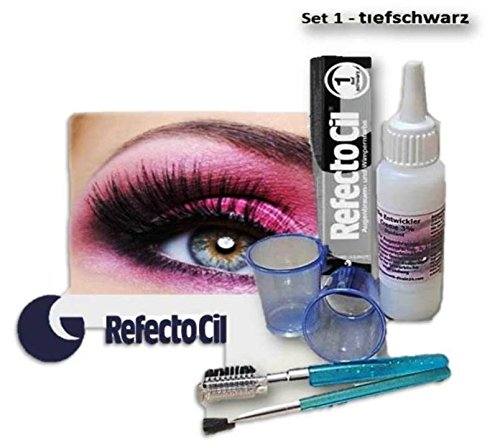 Refectocil BEAUTY FÄRBE SET Wimpernfarbe Augenbrauen Lash Color Intimfärbung Men Bartfarbe (tiefschwarz - 1)