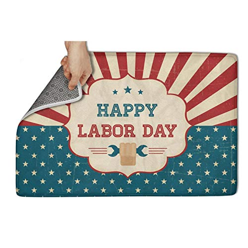 Motag Happy Labor Day Retro Poster Non Slip Soft Indoor Doormat Bedroom Bathroom Pet Mats 23.5x15.5IN ()