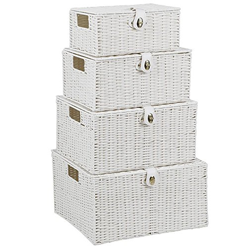 Topeakmart Storage Box Set Stackable Woven Basket Bin Shelf Organizer with Hinged Lid Strap Lock Handles (Woven Basket Set - 4pcs, ()