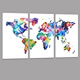 World Map Canvas Art,Water color map Poster Printed on Canvas with Frame Ready Hanging On,3 Panel Canvas Art,world Map Decal,home Wall Decoration,framed and Stretched,ready to Hang On