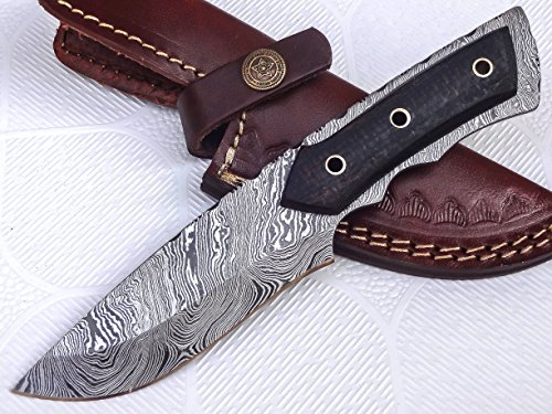 BC-204, Custom Handmade Full Tang Damascus Steel Bushcraft Knife- Stunning Easy Grip Handle