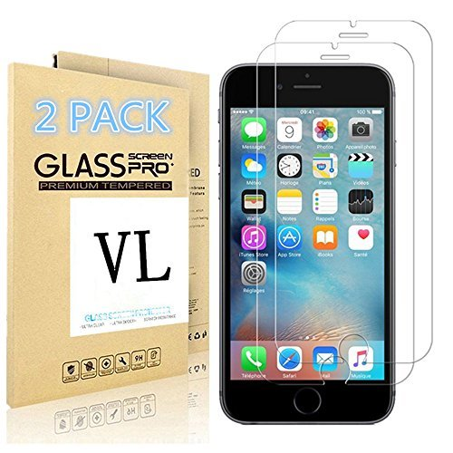 [2 PACK] iPhone 6/6S Screen Protector, VL [Tempered Glass] [Bubble-Free] [Anti-Scratch] Ultra Thin 9H Hardness High Definition Premium Tempered Glass Screen Protector for iPhone 6/6S (For iPhone - Glasses 7.99