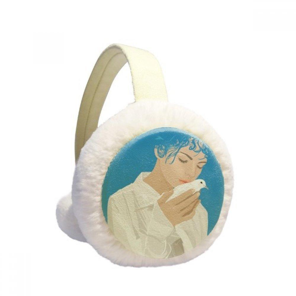 Blue Peace Girl Anti-war Pattern Winter Earmuffs Ear Warmers Faux Fur Foldable Plush Outdoor Gift