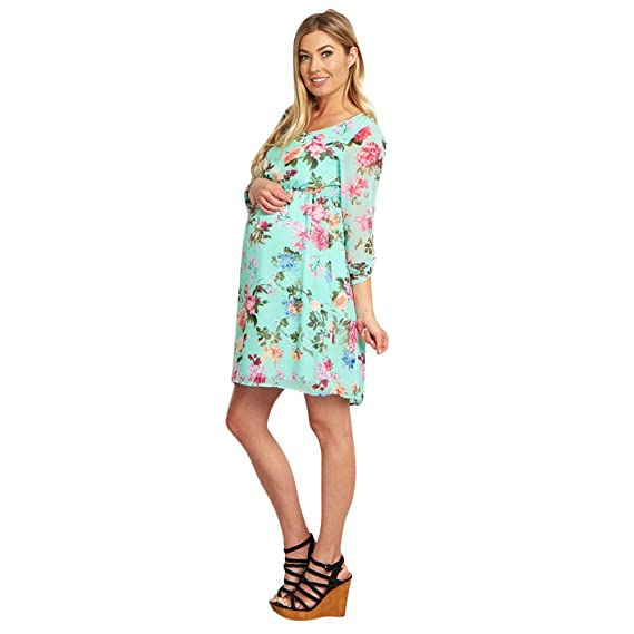 Amazon.com: Vicbovo Clearance Women Maternity Spring Dresses Bohemian Floral Print Mesh Long Sleeve High Waist Crew Neck Short Casual Dress (Green, ...